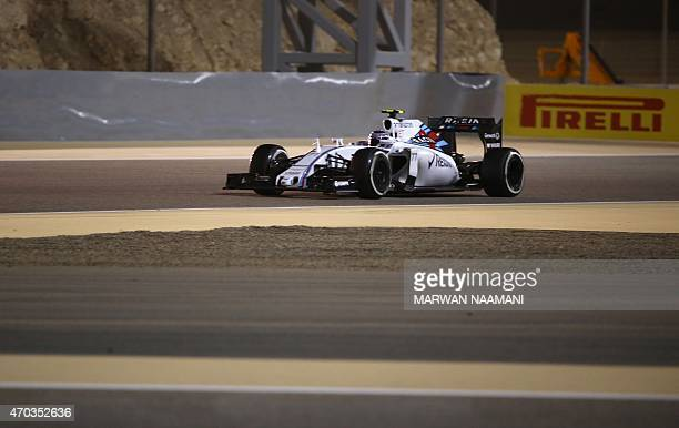 Williams Martini Racing Finnish driver Valtteri Bottas navigates corners during the Formula One Bahrain Grand Prix at the Sakhir circuit in the...