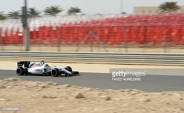 Williams Martini Racing Finnish driver Valtteri Bottas steers his car during a practice session ahead of the Formula One Bahrain Grand Prix on April...