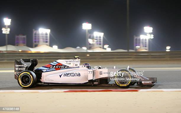 Williams Martini Racing Finnish driver Valtteri Bottas steers his car during the 2nd practice session on April 17 2015 ahead of the weekend's Formula...