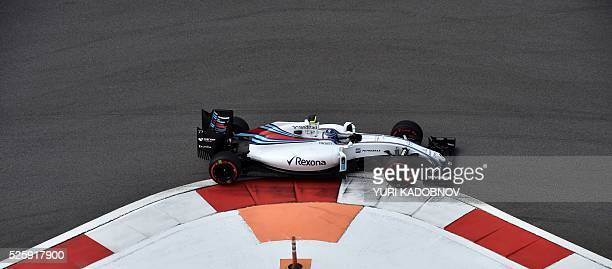Williams Martini Racing's Finnish driver Valtteri Bottas steers his car during the first practice session of the Formula One Russian Grand Prix at...