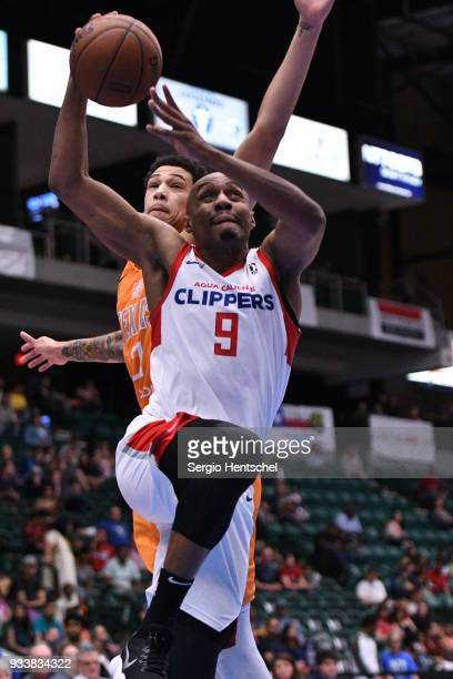 J Williams of the Agua Caliente Clippers goes for a lay up against the Texas Legends on March 18 2018 at the Dr Pepper Arena in Frisco Texas NOTE TO...