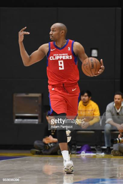 J Williams of the Agua Caliente Clippers handles the ball against the South Bay Lakers during an NBA GLeague game on March 15 2018 at UCLA Heath...
