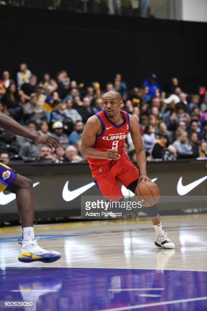 J Williams of the Agua Caliente Clippers handles the ball during the game against the South Bay Lakers during an NBA GLeague game on March 15 2018 at...