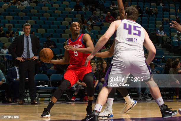 J Williams of the Agua Caliente Clippers looks to pass against the Reno Bighorns during an NBA GLeague game on March 16 2018 at the Reno Events...