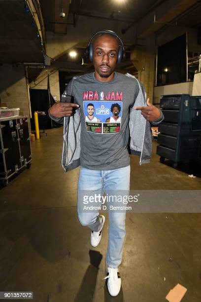 J Williams of the LA Clippers arrives before the game against the Oklahoma City Thunder on January 4 2018 at STAPLES Center in Los Angeles California...