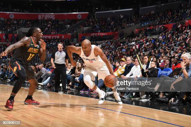 J Williams of the LA Clippers handles the ball against the Atlanta Hawks on January 8 2018 at STAPLES Center in Los Angeles California NOTE TO USER...