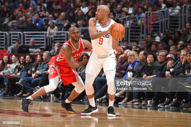 J Williams of the LA Clippers handles the ball against the Houston Rockets on February 28 2018 at STAPLES Center in Los Angeles California NOTE TO...