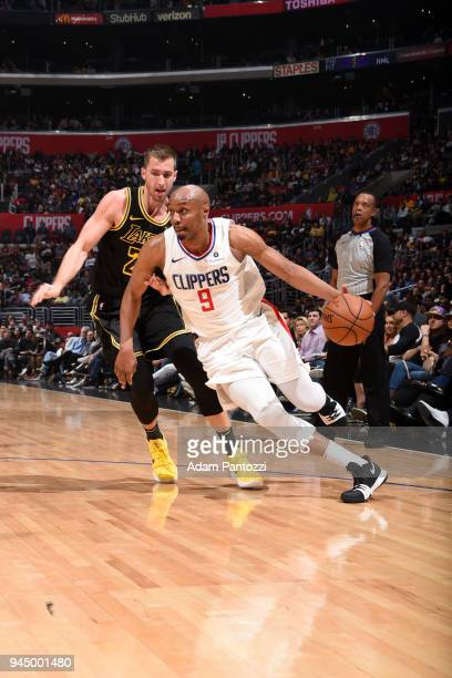 J Williams of the LA Clippers handles the ball against the Los Angeles Lakers on April 11 2018 at STAPLES Center in Los Angeles California NOTE TO...