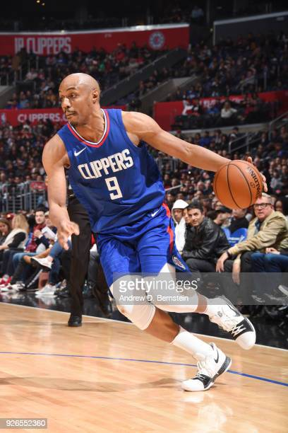 J Williams of the LA Clippers handles the ball during the game against the New York Knicks on March 2 2018 at STAPLES Center in Los Angeles...