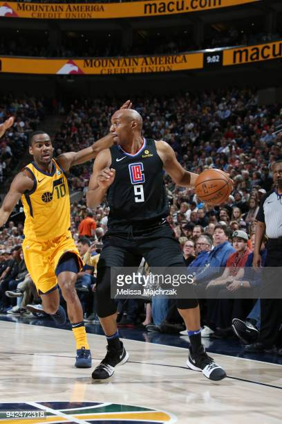 J Williams of the LA Clippers handles the ball during the game against the Utah Jazz on April 5 2018 at vivintSmartHome Arena in Salt Lake City Utah...