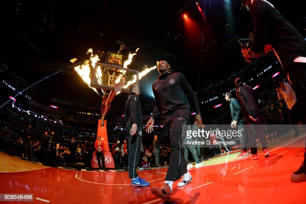 J Williams of the LA Clippers is introduced prior to the game against the New York Knicks on March 2 2018 at STAPLES Center in Los Angeles California...