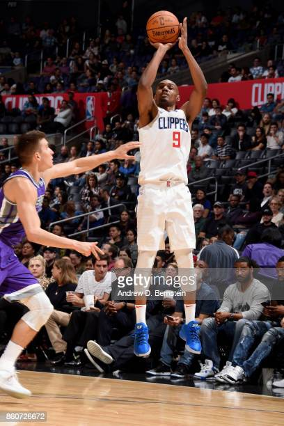J Williams of the LA Clippers shoots the ball against the Sacramento Kings on October 12 2017 at STAPLES Center in Los Angeles California NOTE TO...