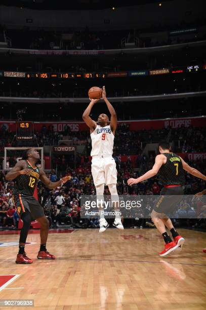 J Williams of the LA Clippers shoots the ball during game against the Atlanta Hawks on January 8 2018 at STAPLES Center in Los Angeles California...