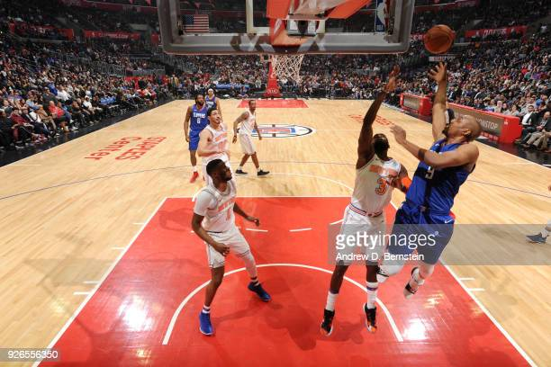 J Williams of the LA Clippers shoots the ball during the game against the New York Knicks on March 2 2018 at STAPLES Center in Los Angeles California...