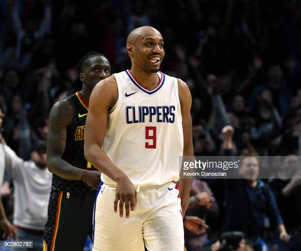 J Williams of the Los Angeles Clippers reacts after scoring the game winning three point basket against Atlanta Hawks during the second half of...