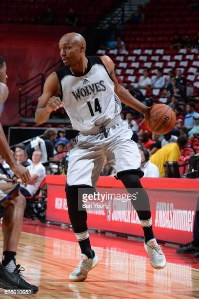J Williams of the Minnesota Timberwolves dribbles against the Golden State Warriors on July 11 2017 at the Thomas Mack Center in Las Vegas Nevada...