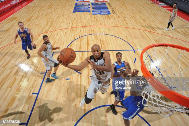 J Williams of the Minnesota Timberwolves drives to the basket during the 2017 Summer League game against the Golden State Warriors on July 12 2017 at...