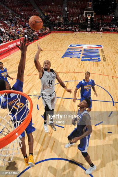 J Williams of the Minnesota Timberwolves shoots the ball against the Golden State Warriors July 11 2017 at the Thomas Mack Center in Las Vegas Nevada...