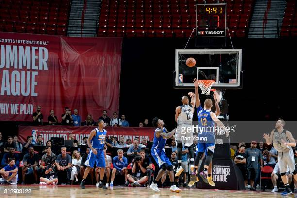 J Williams of the Minnesota Timberwolves shoots the ball to win the game against the Golden State Warriors on July 11 2017 at the Thomas Mack Center...