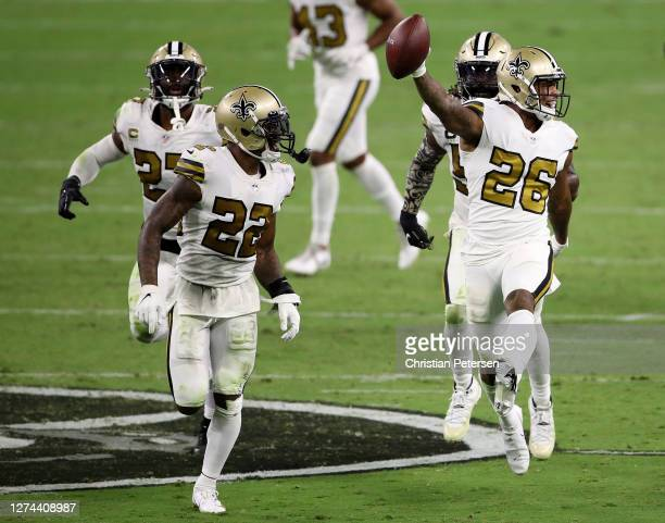 J Williams of the New Orleans Saints celebrates recovering a fumble during the fourth quarter against the Las Vegas Raiders at Allegiant Stadium on...