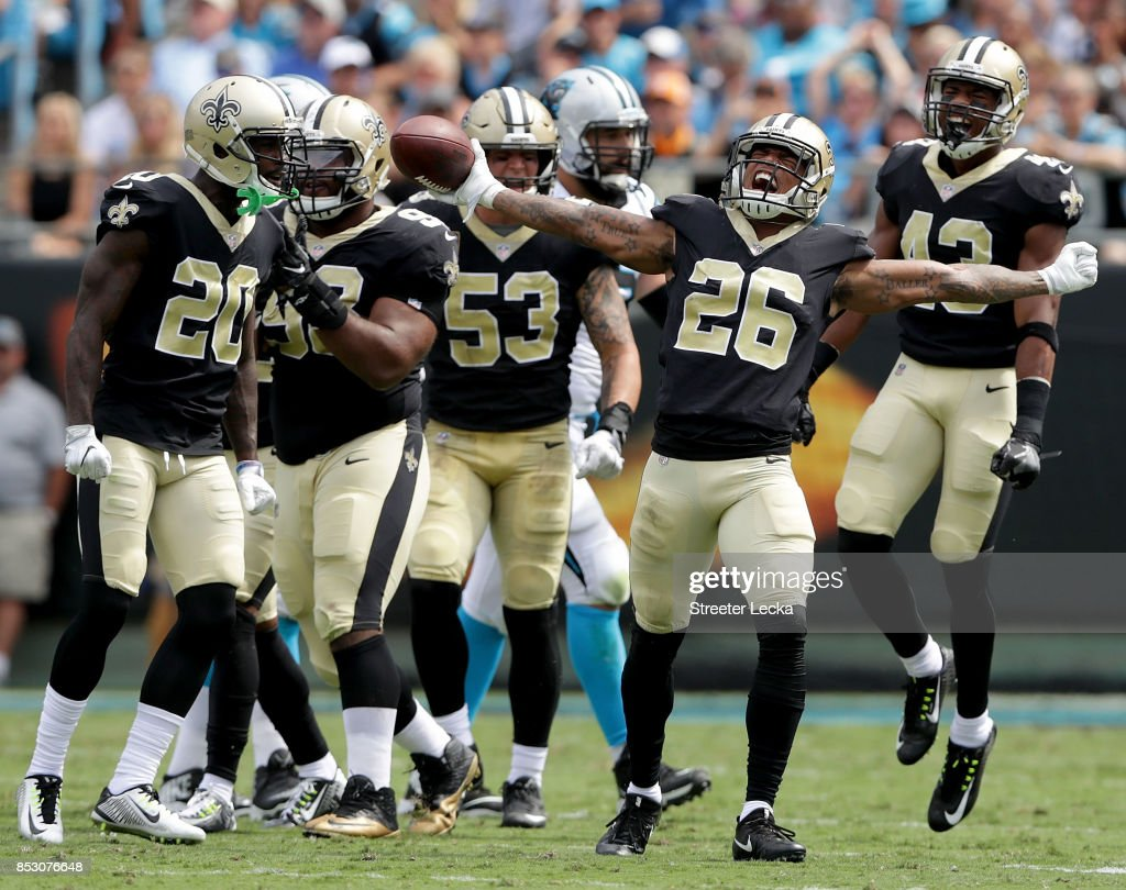 bb1c78c82 P.J. Williams  26 of the New Orleans Saints reacts after making an  interception against the