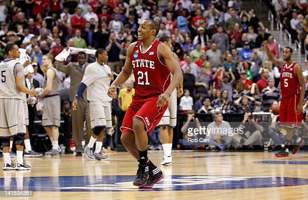 Williams of the North Carolina State Wolfpack celebrates after defeating the Georgetown Hoyas during the third round of the 2012 NCAA Men's...