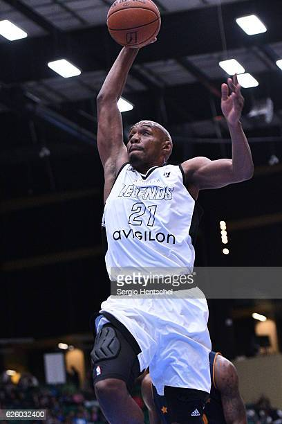 J Williams of the Texas Legends for the slam dunk during game against the Salt Lake City Stars at The Dr Pepper Arena on November 26 2016 in Frisco...