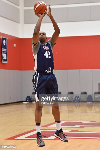 J Williams of the USA AmeriCup Team shoots the ball during a training camp at the University of Houston in Houston Texas on August 17 2017 NOTE TO...