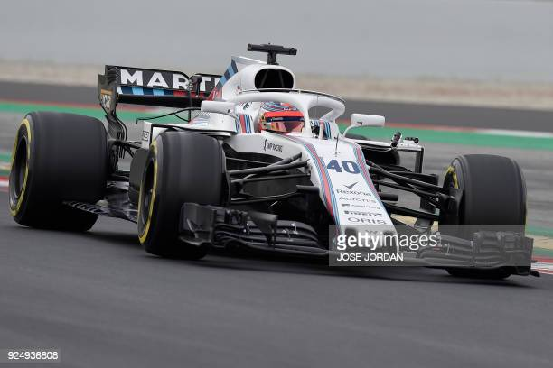 Williams' Polish driver Robert Kubica drives at the Circuit de Catalunya on February 27 2018 in Montmelo on the outskirts of Barcelona during the...