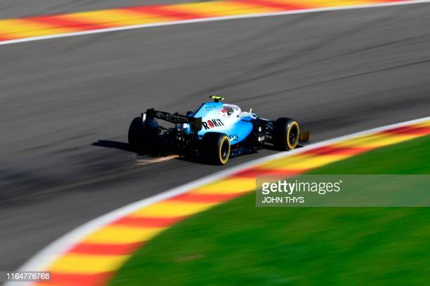 Williams' Polish driver Robert Kubica drives during the second practice session at the Spa-Francorchamps circuit in Spa on August 30, 2019 ahead of...