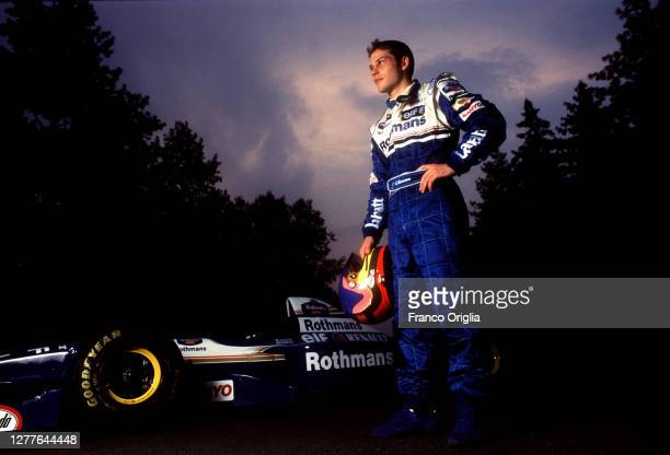 Williams Renault Formula One driver Jaques Villeneuve poses during the tests for the new Formula One Grand Prix season at the Circuit of Imola on...