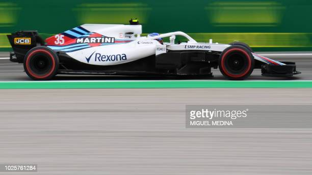 William's Russian driver Sergey Sirotkin drives during the second practice session at the Autodromo Nazionale circuit in Monza on August 31 2018...