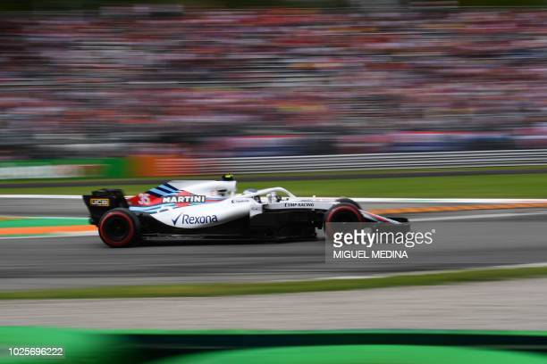 William's Russian driver Sergey Sirotkin drives during the third practice session at the Autodromo Nazionale circuit in Monza on September 1 2018...