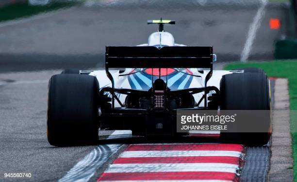Williams' Russian driver Sergey Sirotkin steers his car during the first practice of the Formula One Chinese Grand Prix in Shanghai on April 13 2018...