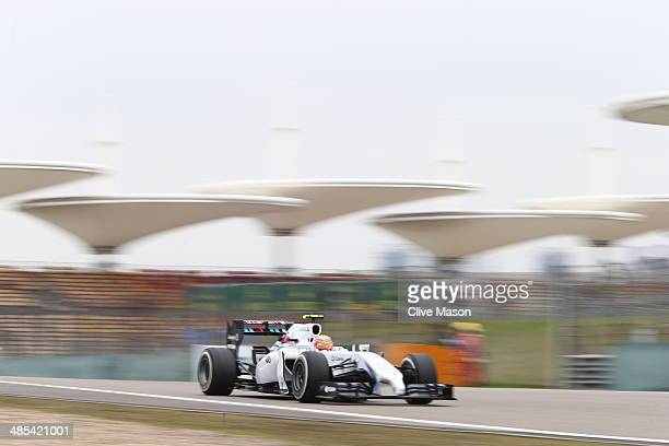 Williams test driver Felipe Nasr drives during practice ahead of the Chinese Formula One Grand Prix at the Shanghai International Circuit on April 18...
