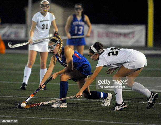 Williams Titans Caroline Carver and Westfield Bulldogs Olivia Markert vie for possession in the second half of the Virginia 6A North region field...