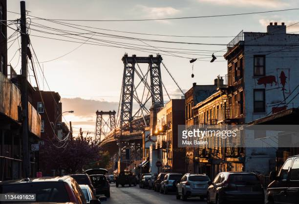 williamsburg bridge, williamsburg, brooklyn, new york, usa - brooklyn new york stock-fotos und bilder
