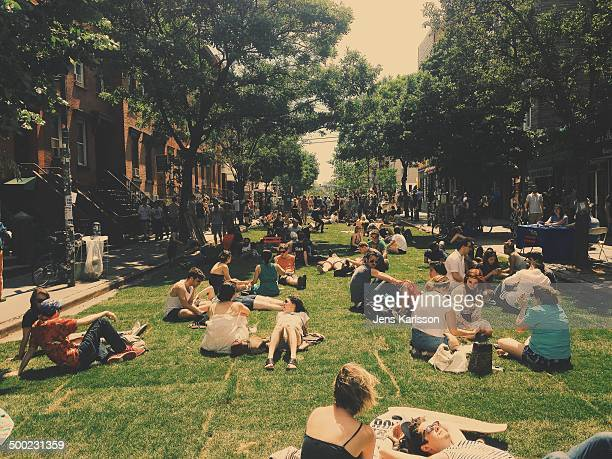 Williamsburg brooklyn summer festival grass in the streets bedford avenue