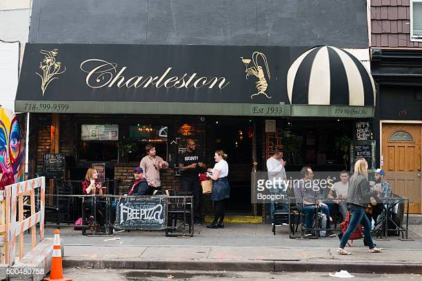 williamsburg sidewalk cafe urban street scene - williamsburg new york city stock pictures, royalty-free photos & images