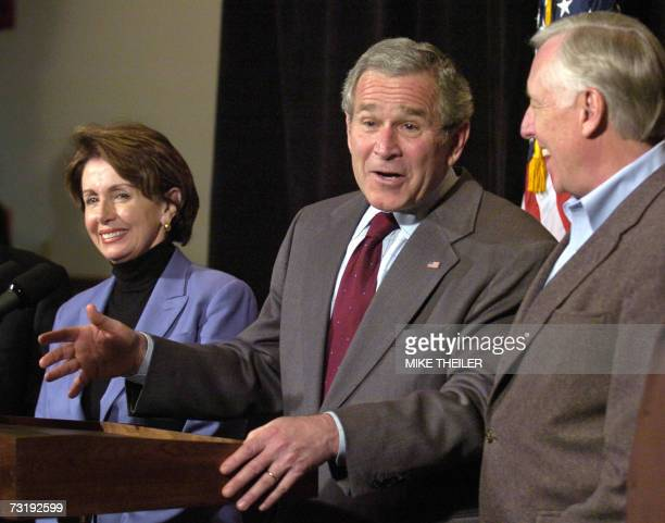 US President George W Bush makes a joke as he speaks with House Speaker Nancy Pelosi L and Majority Leader Rep Steny Hoyer at the conclusion of his...