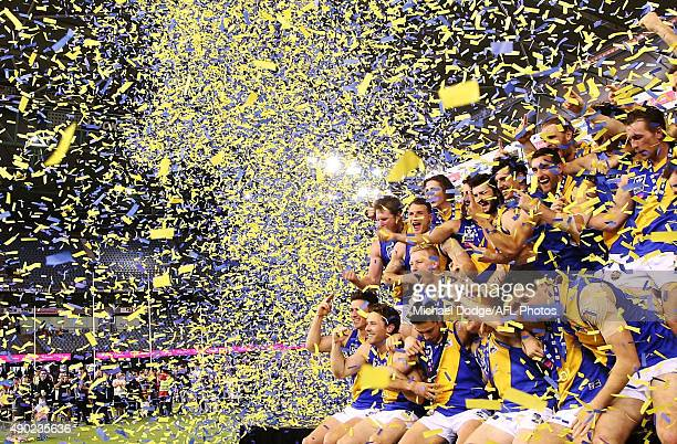Williamstown Seagulls players celebrate their win on the podium during the VFL Grand Final match between Williamstown and Box Hill at Etihad Stadium...
