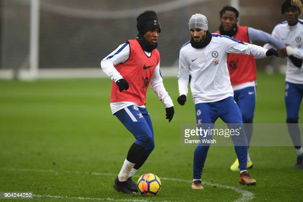 Willian and Davide Zappacosta of Chelsea during a training session at Chelsea Training Ground on January 12 2018 in Cobham England
