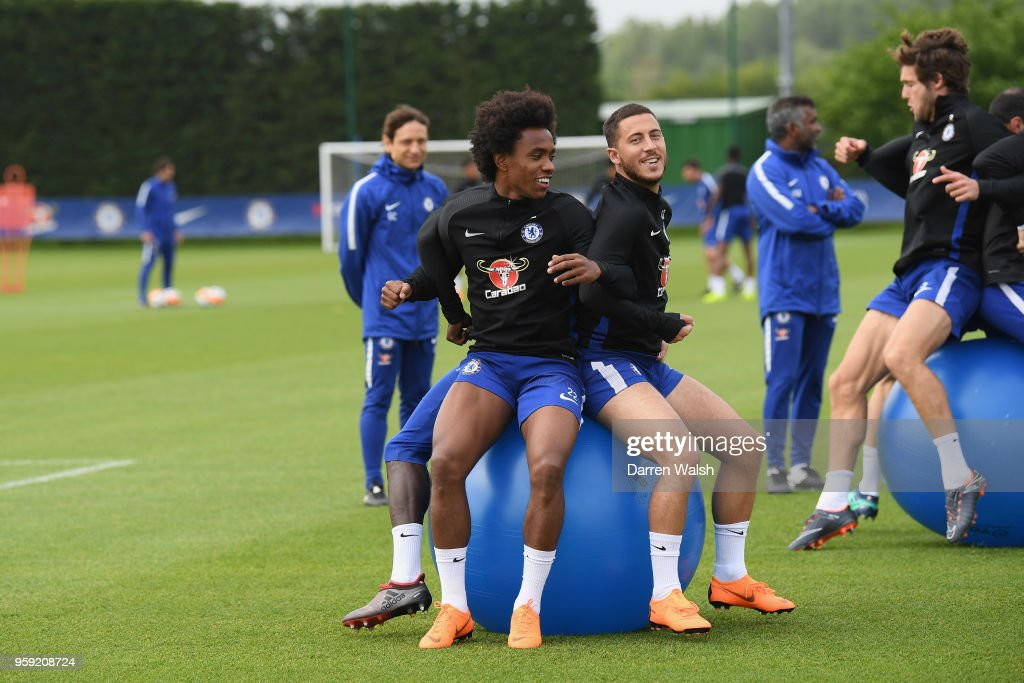 Willian and Eden Hazard of Chelsea during a Strength and Conditioning training session at Chelsea Training Ground on May 16, 2018 in Cobham, England.