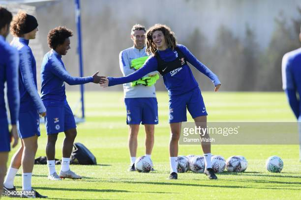 Willian and Ethan Ampadu of Chelsea during a training session at Chelsea Training Ground on September 25 2018 in Cobham England