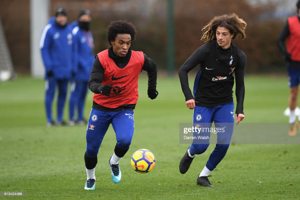 Willian and Ethan Ampadu of Chelsea during a training session at Chelsea Training Ground on February 2, 2018 in Cobham, England.