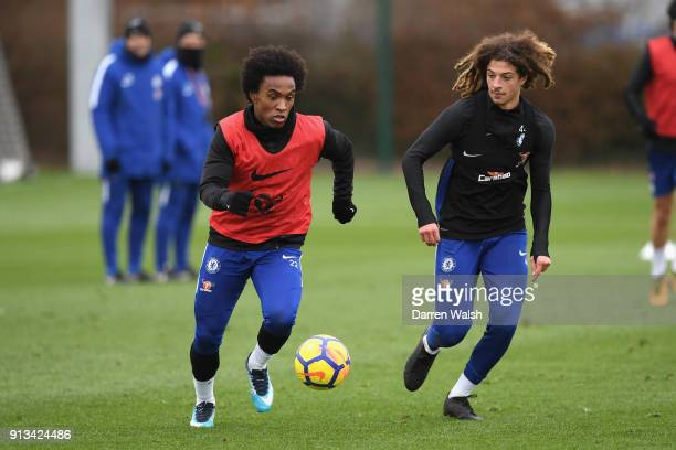Willian and Ethan Ampadu of Chelsea during a training session at Chelsea Training Ground on February 2 2018 in Cobham England
