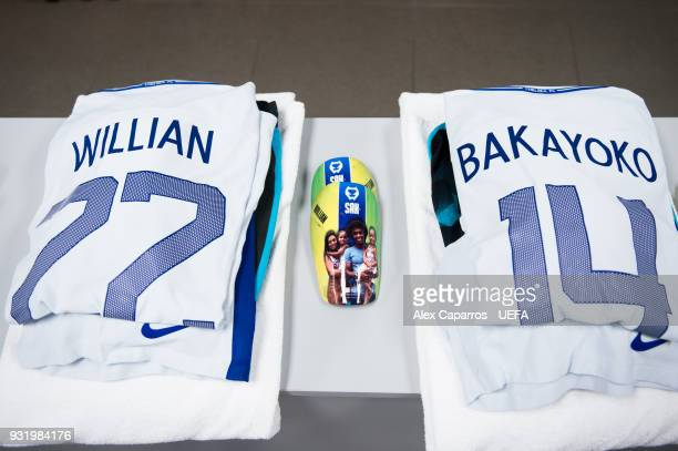 Willian and Tiemoue Bakayoko of Chelsea FC kits are ready in the dressing room before the UEFA Champions League Round of 16 Second Leg match between...