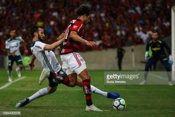 Willian Arão of Flamengo struggles for the ball with Edu Dracena of Palmeiras during a match between Flamengo and Palmeiras as part of Brasileirao...