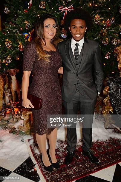 Willian Borges da Silva and Vanessa Martins attend the Claridge's & Dolce and Gabbana Christmas Tree party at Claridge's Hotel on November 19, 2014...