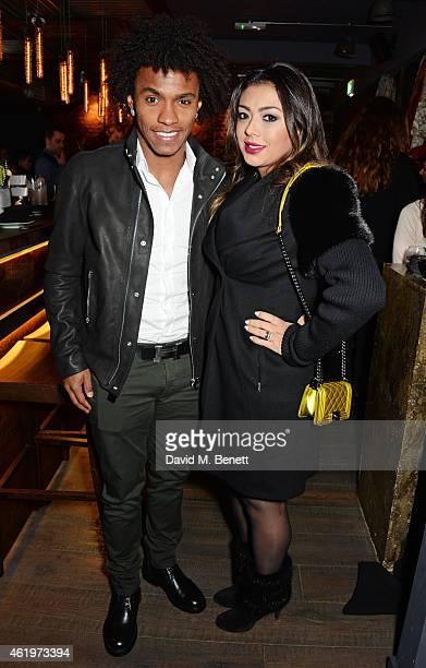 Willian Borges da Silva and Vanessa Martins attend the Jinjuu launch dinner, Kingly Street, at Jinjuu on January 22, 2015 in London, England.